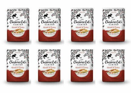 8 x 85g Cheshire Cat's Garden Chicken and Turkey Pouches