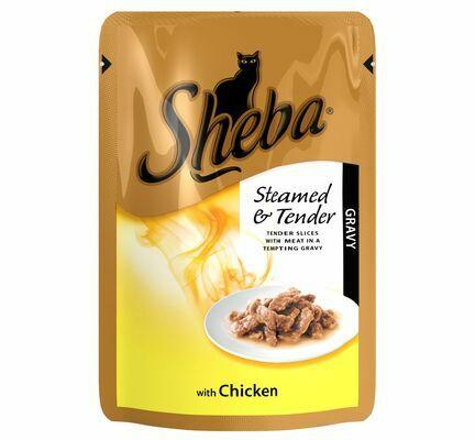 12 x 85g Sheba Steamed & Tender Chicken In Gravy Pouch