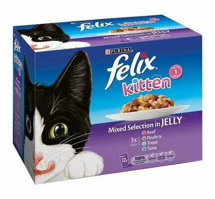 4 x Felix Kitten Pouches Mixed Selection in Jelly 12x100g
