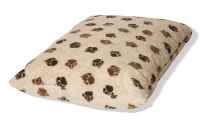 Danish Design Cream & Brown Fleece Paw Deep Duvet Dog Bed