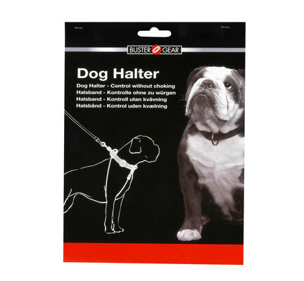 Buster Nylon Dog Halter Black Non-Choke Training Lead