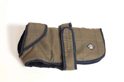 Danish Design Padded Showerproof Brown Tweed Dog Coat