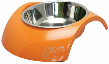 Rogz Stainless Steel Dog Bowl with Luna Orange Insert