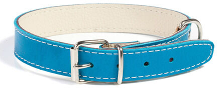 Doggy Things Plain Leather Dog Collar - Blue