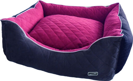 Hem & Boo Quilted Rectangle Dog Bed - Black & Raspberry Crush