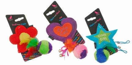 Hem & Boo Star, Flower & Heart Feather Teaser Plush Cat Toy