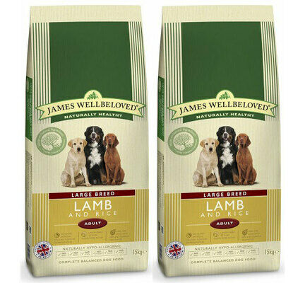 2 x 15kg James Wellbeloved Large Breed Lamb & Rice Dry Dog Food