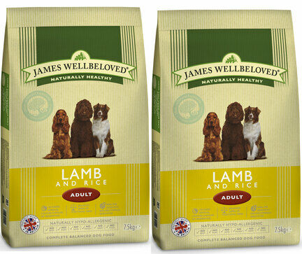 2 x 15kg James Wellbeloved Lamb & Rice Adult Dry Dog Food
