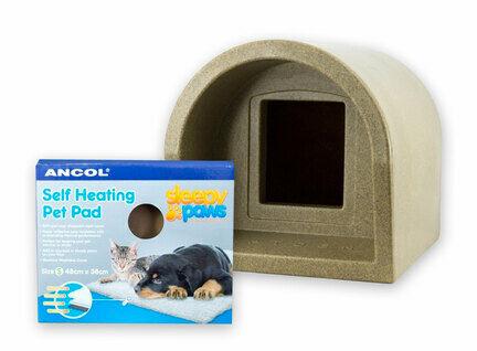 Mr Snugs Katden Cat Kennel & Self Heating Pet Pad - Stone