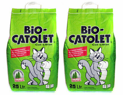 2 x 25L Bio-Catolet 100% Recycled Paper Cat Litter Multi-Buy