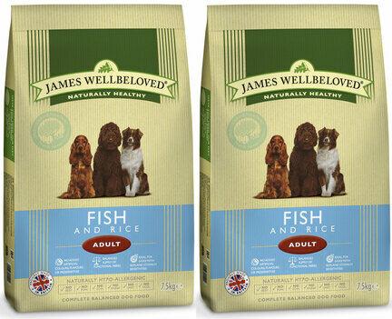 2 x 15kg James Wellbeloved Fish & Rice Adult Dry Dog Food