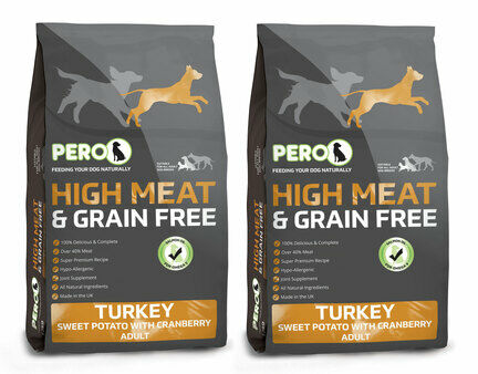 2 x 12kg Pero High Meat Grain Free Turkey, Sweet Potato & Cranberry Adult Dog Food